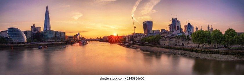 LONDON, UNITED KINGDOM - MAY 14: London skyline at night with skyscrapers and river Thames on May 14, 2018 in London
