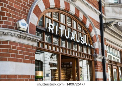 LONDON, UNITED KINGDOM - May 14, 2019: Store front sign and logo of Rituals... which sells cosmetics