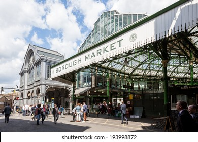 LONDON, UNITED KINGDOM - MAY 14, 2014: The sign for one of the entrances to Borough Market, near London Bridge. It is one of the largest and oldest food markets in London.
