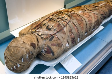 LONDON, UNITED KINGDOM - MAY 15: Detail of ancient egyptian mummy in British museum on May 15, 2018 in London