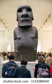 LONDON, UNITED KINGDOM - MAY 15: Easter island figure called Hoa Hakananai'a in British museum on May 15, 2018 in London