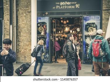 LONDON, UNITED KINGDOM - MAY 16: Harry Potter Shop at Platform 9 3/4 at King's Cross Station on May 16, 2018 in London