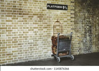 LONDON, UNITED KINGDOM - MAY 16: Platform 9¾ at King's Cross Station on May 16, 2018 in London