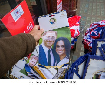 LONDON, UNITED KINGDOM - MAY 18, 2018: Souvenir shops selling memorabilia royal wedding celebration to take place May 19 at Windsor Castle Meghan Markel Prince harry