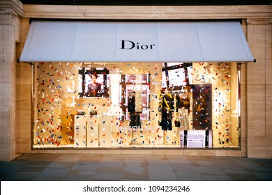 LONDON, UNITED KINGDOM - MAY 18, 2018: Congratulation message from Christian Dior fashion boutique HRH Prince Harry of Wales KCVO and Ms Meghan Markle flagship store on Regent street Royal Wedding