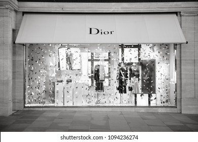 LONDON, UNITED KINGDOM - MAY 18, 2018: Congratulation message from Christian Dior fashion boutique to  HRH Prince Harry of Wales KCVO and Ms Meghan Markle flagship store on black and white