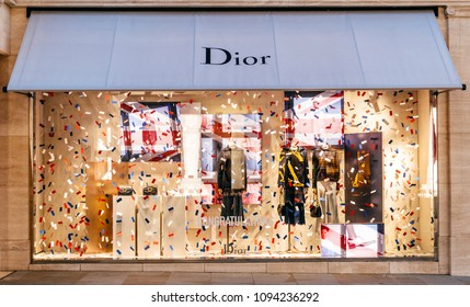 LONDON, UNITED KINGDOM - MAY 18, 2018: Congratulation message from Christian Dior fashion boutique to  HRH Prince Harry of Wales KCVO and Ms Meghan Markle flagship store