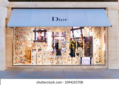 LONDON, UNITED KINGDOM - MAY 18, 2018: Congratulation message from Christian Dior fashion boutique to  HRH Prince Harry of Wales KCVO and Ms Meghan Markle flagship store on Regent street