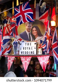 LONDON, UNITED KINGDOM - MAY 19, 2018: Flags celebrating the Royal Wedding in London between Harry and Meghan at The Churchill Arms.