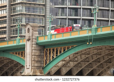 London, United Kingdom, May 19, 2013: Detail of the southwark Bridge, which is an arch bridge in London, England, for traffic linking the district of Southwark and the City across the River Thames.