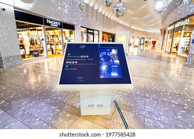 London United Kingdom - May 19 2021 Digital wayfinding touch screen. display panel, 02 arena shopping outlet in North Greenwich Peninsula
