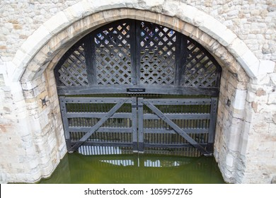 London, United Kingdom - May 2, 2015: The entrance to the Tower of London for Traitor's, by water from the River Thames.
