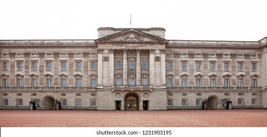 London, United Kingdom, May 20, 2013: Exterior view of the main gates in front of Buckingham Palace, residence of the Monarch of the United Kingdom, located in Westminster, London