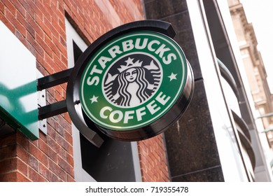 LONDON, UNITED KINGDOM MAY, 2017: Logo of a Starbucks Coffee coffeehouse. Starbucks is the largest coffeehouse company in the world, Founded in Washington, 1971.