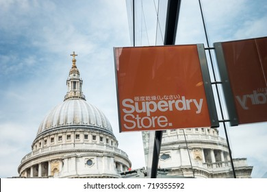 LONDON, UNITED KINGDOM MAY, 2017: Logo of a Superdry Store. Superdry clothing design and manufacturing company, founded in London.