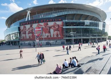 London, United Kingdom – May 21, 2017: Emirates stadium on the day Arsenal defeated Everton 3-1.