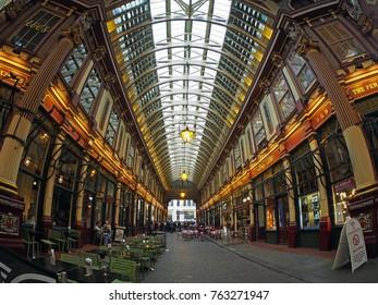 London, United Kingdom - May 22, 2016: Leadenhall Market is a Victorian market located on Gracechurch Street, London.