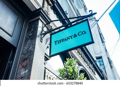 London, United Kingdom - May 23, 2017 : Teaches Tiffany & Co shop in Old Bond Street