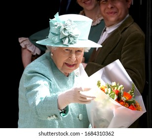 London, United Kingdom- May 24, 2019: The Queen arrives to visit a replica of one of the original Sainsbury's to celebrate Sainsbury's 150th years in Covent garden in London, UK.