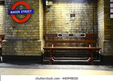 London, United Kingdom - May 25, 2016: a bench in subway station of Baker street. No people.