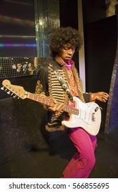 London, United Kingdom - May 25, 2016: Jimi Hendrix in Madame Tussauds of London