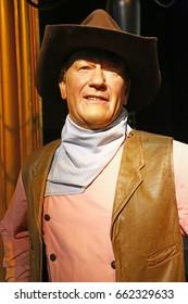 London, United Kingdom - May 25, 2016: John Wayne in Madame Tussauds of London