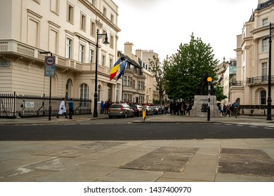 London / United Kingdom - May 26 2019: Romanian expats wait outside Romanian Embassy in Belgrave Square to vote for the European Parliament election