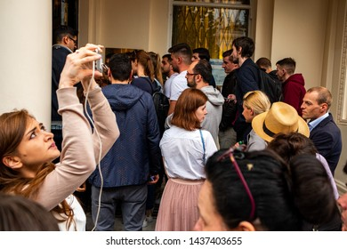 London / United Kingdom - May 26 2019: Huge line of voters waiting outside Romanian Embassy in London to vote for European Parliament election