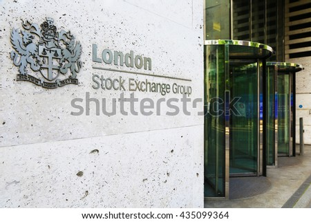 London, United Kingdom - May 27, 2016: Entrance of London Stock Exchange. No people.