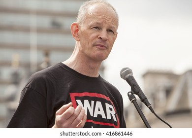 London, United Kingdom - May 7, 2015: Medics Under Fire. A rally in Trafalgar Square with speakers was followed by a march down Whitehall to Downing Street to deliver a Letter to the Prime Minister.
