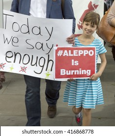 London, United Kingdom - May 7, 2015: Syrian Rally supporting Medics Under Fire. A rally in Trafalgar Square with speakers was followed by a march down Whitehall to Downing Street .
