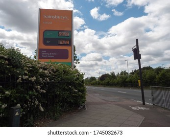 LONDON, UNITED KINGDOM - MAY24, 2020: Sainsbury's gas station in lockdown period with petrol price under 1£, in London United Kingdom