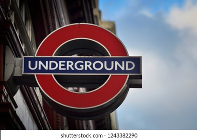 LONDON, UNITED KINGDOM - NOV 21: Text Undeground in the centre of city on NOV 21, 2018 in London
