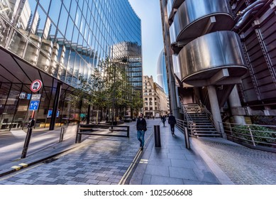 LONDON, UNITED KINGDOM -NOVEMBER 06: This is a street in the City of London financial district with modern architecture on November 06, 2017 in London