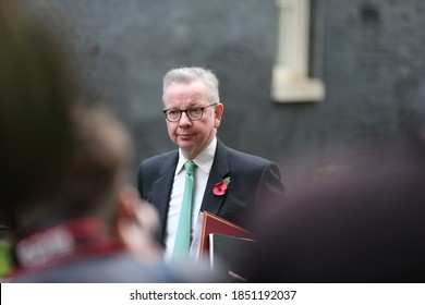 LONDON, UNITED KINGDOM - November 10  2020: Minister for the Cabinet Office and Chancellor of the Duchy of Lancaster Michael Gove arrives at  Downing Street to attend the cabinet meeting.