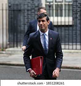 LONDON, UNITED KINGDOM - November 10  2020: Chancellor of the Exchequer Rishi Sunak leaves  Downing Street to attend the cabinet meeting.