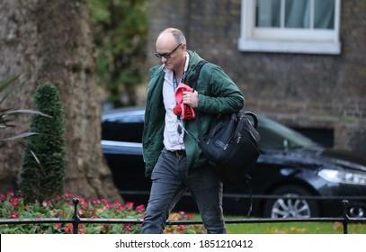 LONDON, UNITED KINGDOM - November 10  2020: UK Prime Minister's political advisor Dominic Cummings arrives at  10 Downing Street.