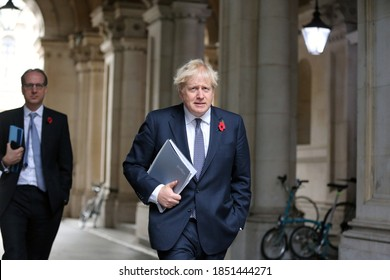 LONDON, UNITED KINGDOM - November 10  2020: UK Prime Minister Boris Johnson arrives at  10 Downing Street after chairing the cabinet meeting.
