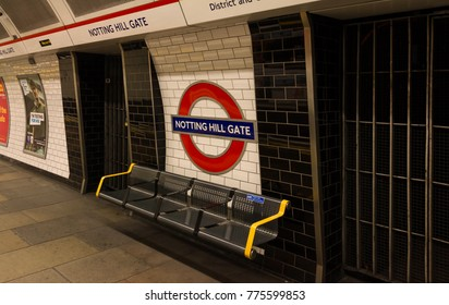LONDON, UNITED KINGDOM - November 13, 2016 : Notting Hill Gate Station. The Underground system serves 270 stations and has 402 kilometres of track, 45 per cent of which is underground.