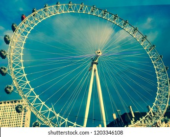 LONDON, UNITED KINGDOM, NOVEMBER 15, 2014: Close up view of the London Eye at dramatic sky along the Thames river