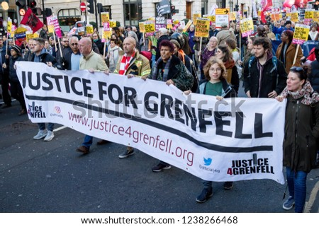 London, United Kingdom, November 17th 2018:- Justice for Grenfelll marchers at the Stand Up To Racism march through central London from the BBC to near Downing Street in Whitehall