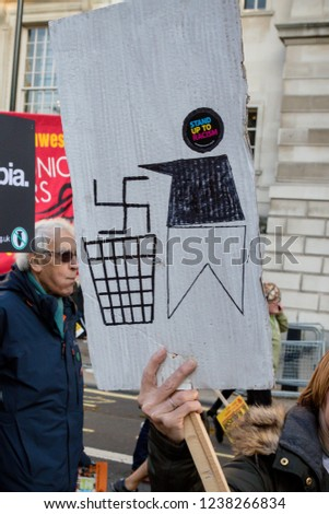 London, United Kingdom, November 17th 2018:- A Placard at the Stand Up To Racism march through central London from the BBC to near Downing Street in Whitehall