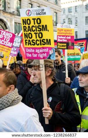 London, United Kingdom, November 17th 2018:- The Stand Up To Racism march through central London from the BBC to near Downing Street in Whitehall
