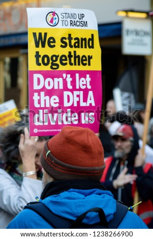 London, United Kingdom, November 17th 2018:- Anti DFLA at the Stand Up To Racism march through central London from the BBC to near Downing Street in Whitehall