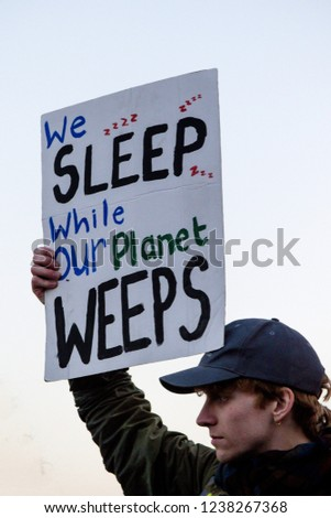 London, United Kingdom, November 17th 2018:- Extinction Rebellion protesters block Westminster Bridge in central London to protest the current environmental emergency