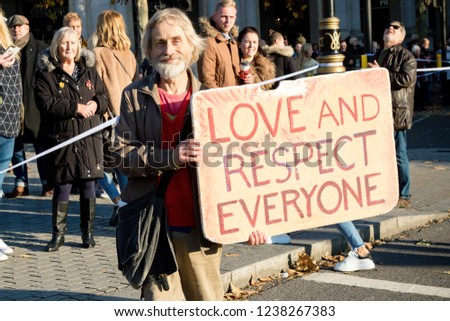 London, United Kingdom, November 17th 2018:- A peace activist at the Stand Up To Racism march through central London from the BBC to near Downing Street in Whitehall