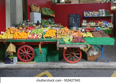 LONDON, UNITED KINGDOM - NOVEMBER 20: Borough Market in London on NOVEMBER 20, 2013. A Variety of Fruits and Vegetables for Sale in Cart at Borough Market in London, United Kingdom.
