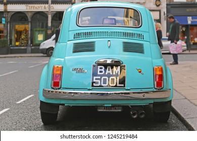 London, United Kingdom - November 21, 2013: Classic Car Fiat 500 Abarth Original at Bond Street in London, UK.