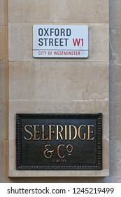 London, United Kingdom - November 21, 2013: Selfridge Luxury Department Store Plaque Sign at Oxford Street in London, UK.