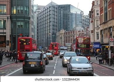 London, United Kingdom - November 23, 2013: Usual Rush Hour at Bishopsgate Street in London, UK.
